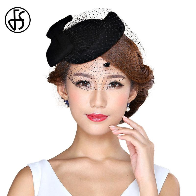 FS Ladies Winter Felt Hat 100% Wool Fedora Elegant Pillbox Hats With Veil Black Women Church Fedoras Vintage Bow Fascinator D19011102