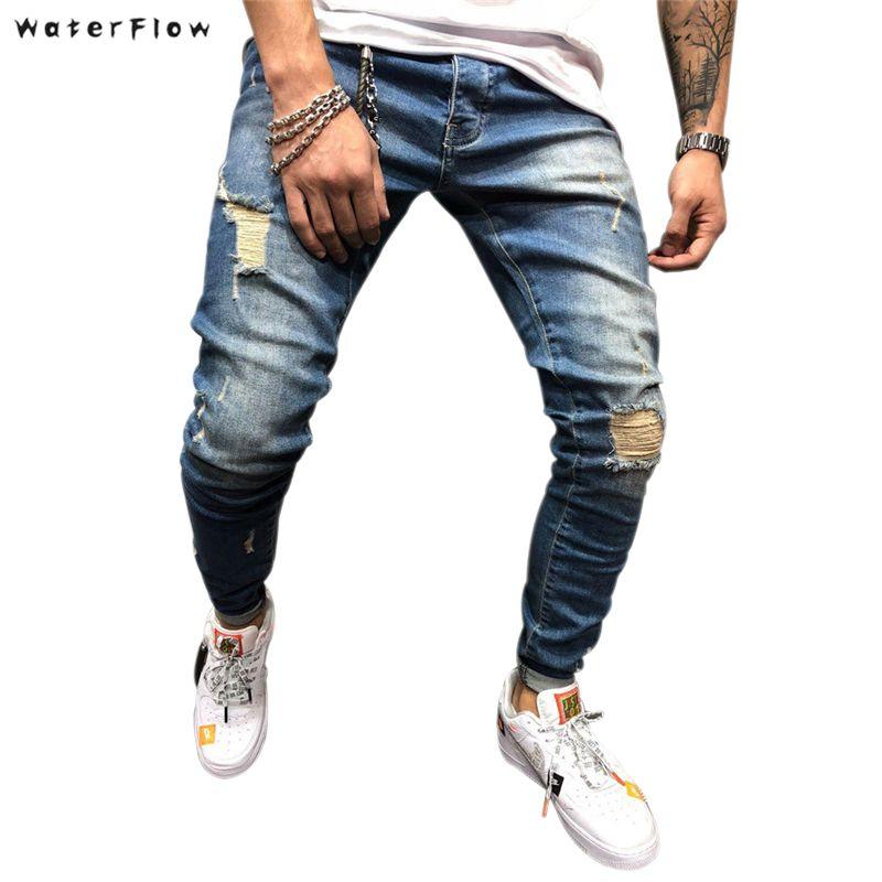 Compre Retro Pantalones Vaqueros Jeans Para Hombre Del Ajustado De Los Pantalones De Los Hombres Pantalones Rasgados Nuevo Flaco Jeans Hombre Recto Hip Hop Deshilachados A 16 97 Del Qyzs002 Dhgate Com