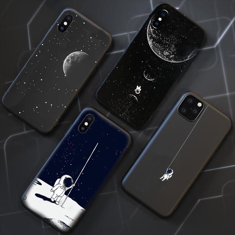 Kozmonot Toprak Siyah Telefon Kılıfı iPhone 6 7 8 6s 6 s Artı Kılıf Kapak Funda iphone X XR XS Max 5 5s se 11 Pro Max Kılıf