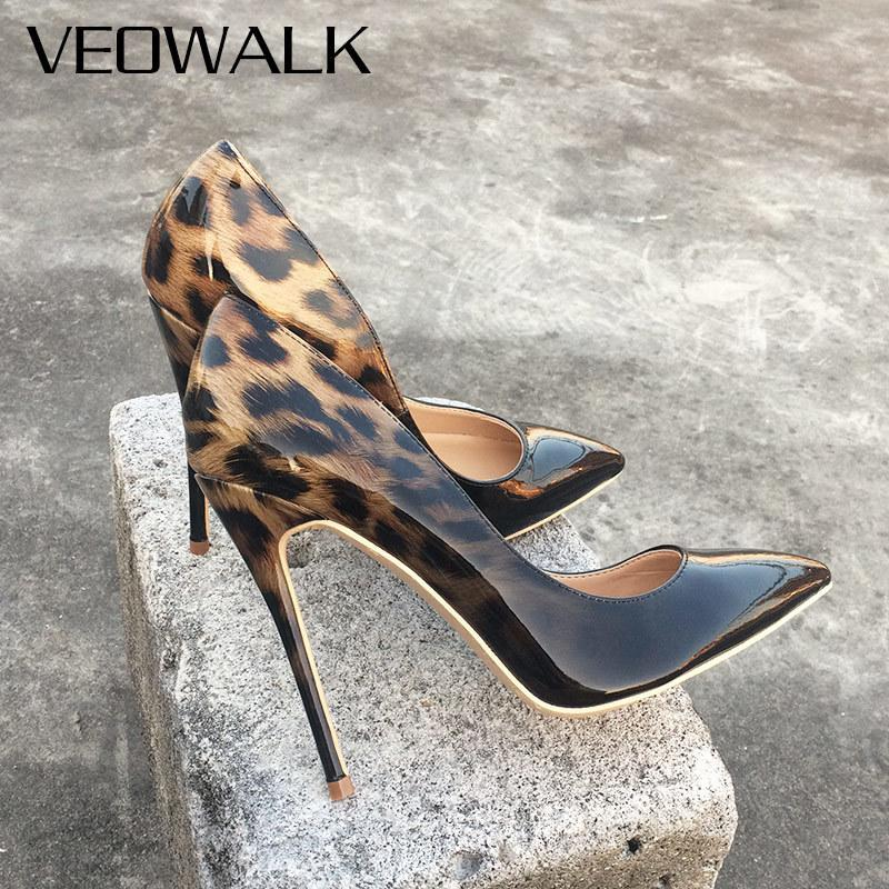 Veowalk Fashion Women Leopard Patent Leather Pumps Pointed Toe 8-12cm Stiletto Ultra High Heel Sexy Ladies Party Shoes Size34-43 Y190706