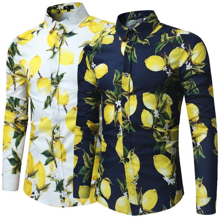Тренд Фрукты Лимон печати с длинным рукавом рубашки Моды случайные лацкане длинный рукав рубашки новое качество fz2255