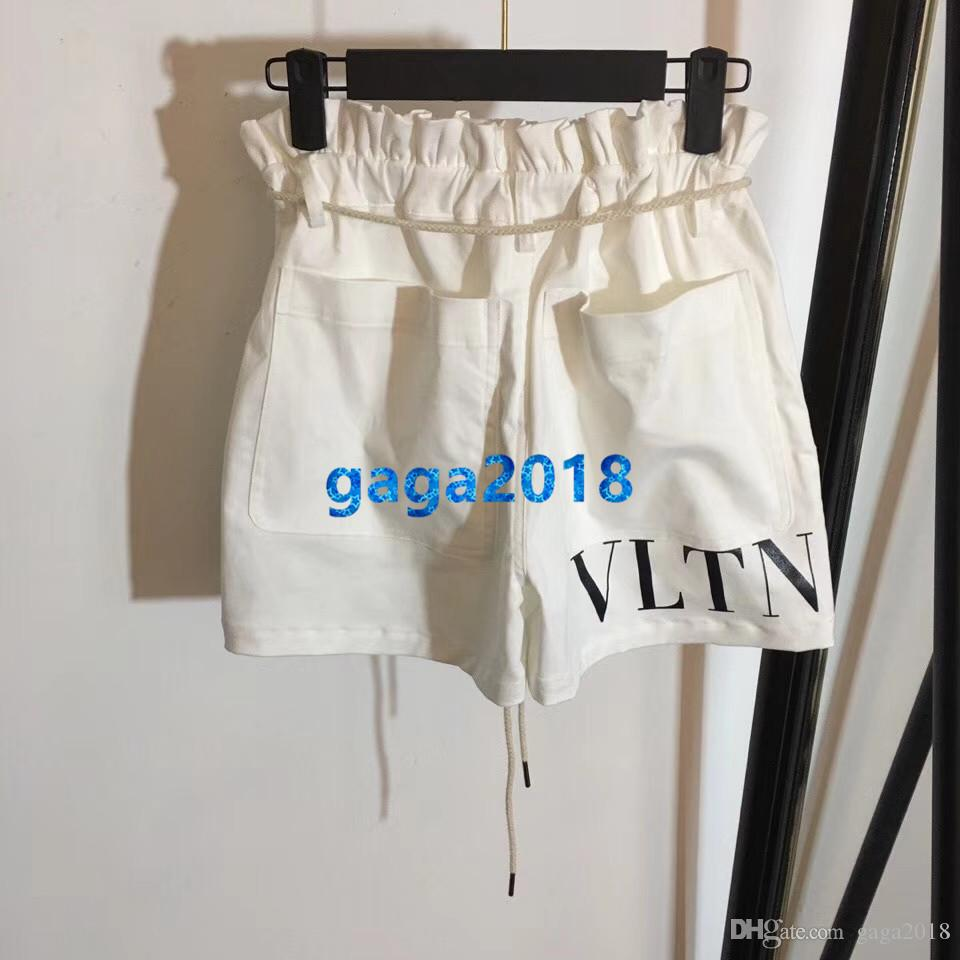 High end women girls shorts letter print high waisted loose short pants casual vintage drawstring trousers summer 2019 new milan runway pant