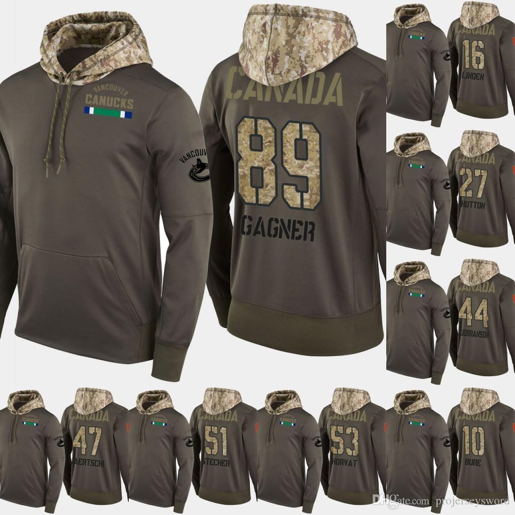 밴쿠버 Canucks Salute to Service Hoodies 6 Brock Boeser 8 Chris Tanev Hockey 25 Jacob Markstrom 31 Anders Nilsson Sweatershirt Jerseys