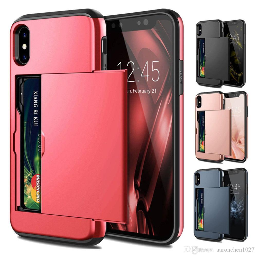 Armor Slide Business Card Case For iPhone X XS MAX XR 7 8 Plus 6 6S Card Slot Holder Cover For Samsung S10 S10e S9 S8 Plus Note 9 8 4 Cases