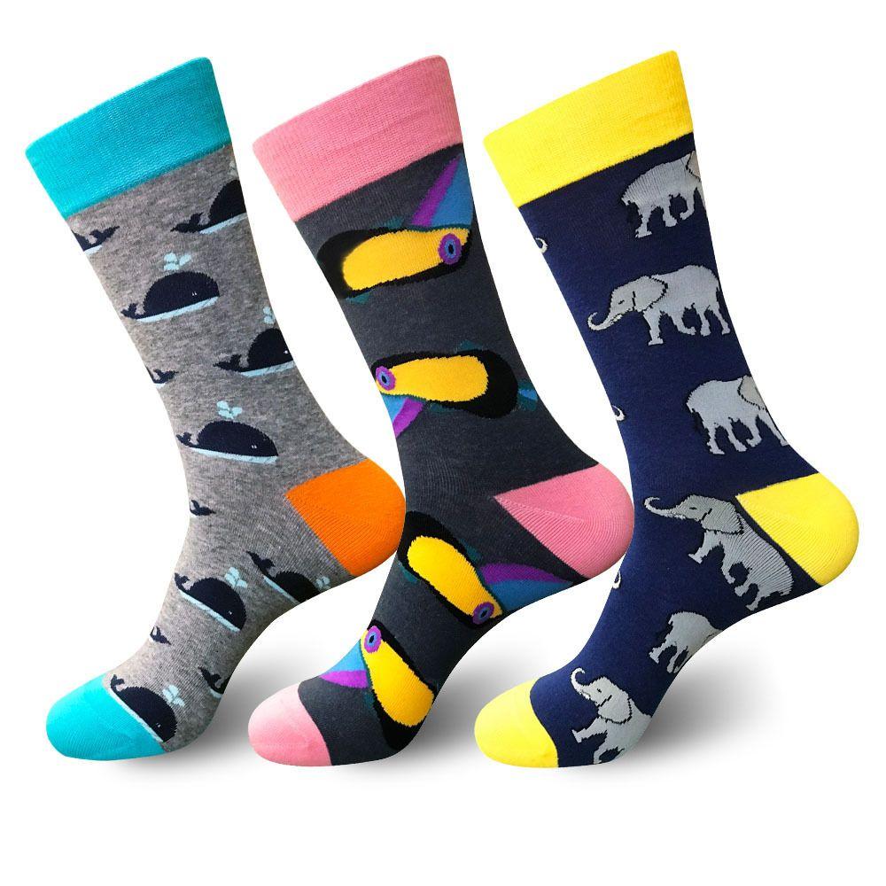 PEONFLY Funny Cotton Men's Socks Elephant Dolphin Warm Skate Harajuku Cool Happy Socks for Wedding Christmas Gift