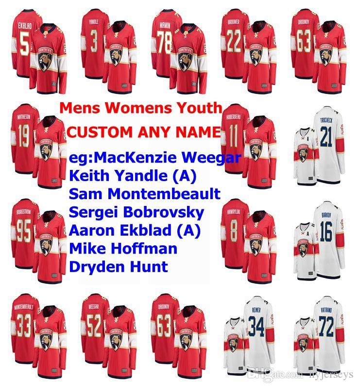 Florida Panthers Maillots Femmes MacKenzie Weegar Jersey Keith Yandle Sam Montembeault Bobrovsky Aaron Ekblad Hockey Maillots personnalisé Cousu