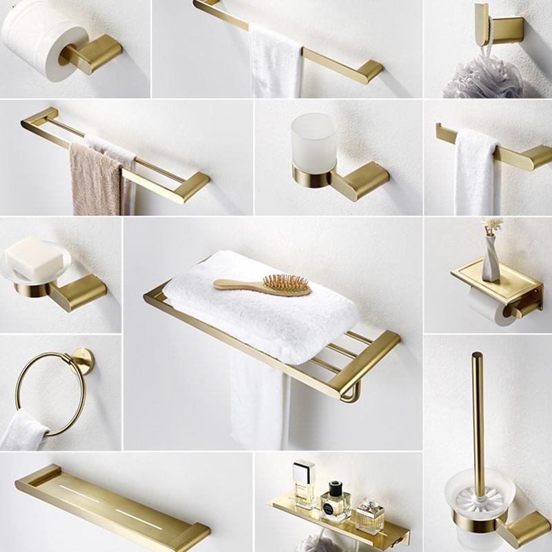 304 Stainless Steel Brushed Gold Bathroom Hardware Set Towle Bar Brush Gold Bathroom Accessories Toilet Paper Holder Robe Hooks