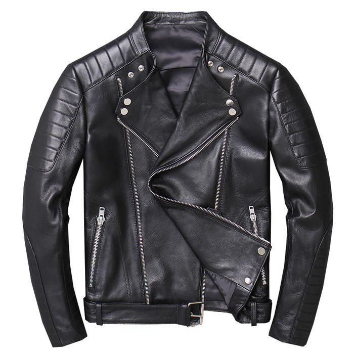سترة جلدية حقيقية الرجال جلد الغنم الحقيقي للدراجات النارية السائق سترة جلدية عارضة ضئيلة الذكور الشتاء قميص jaqueta دي couro
