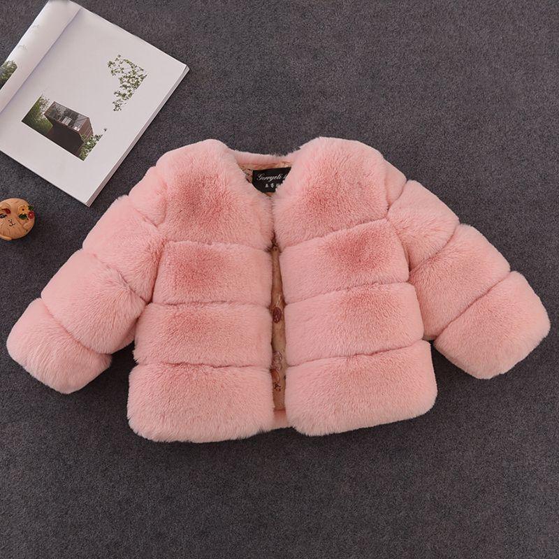 New Hiver filles Manteau de fourrure élégante de bébé en fausse fourrure vestes et manteaux épais chaud Parka Vêtements enfants Vêtements pour les filles Manteau