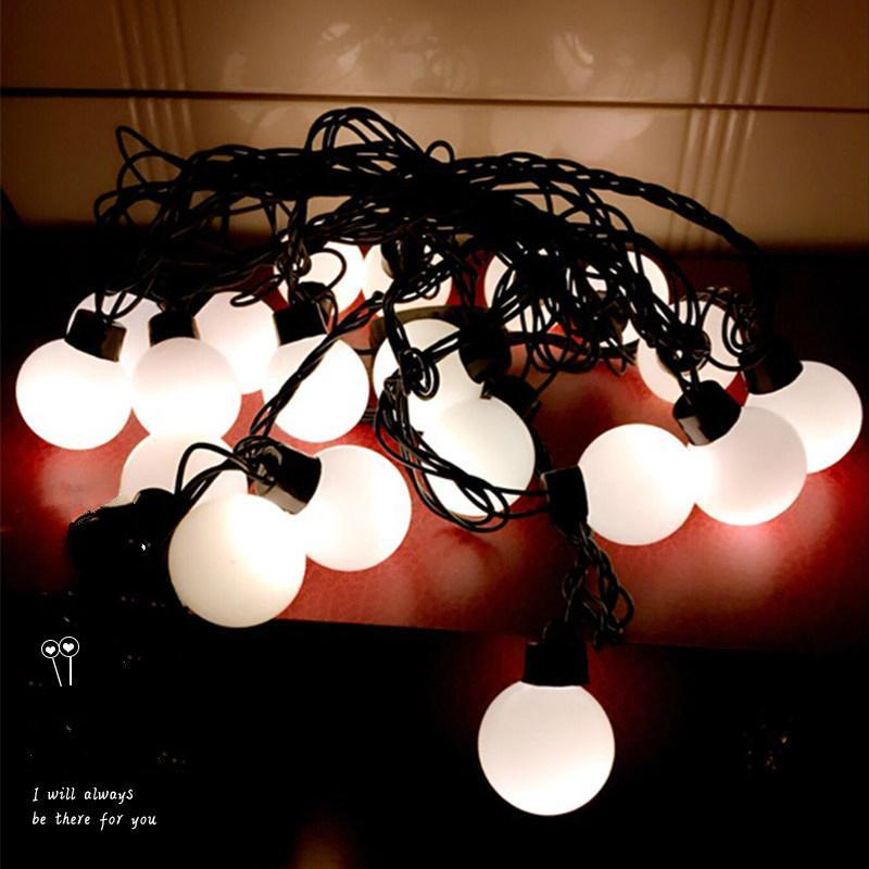 LED 3.5 cm Diamètre 20pcs Balles Rondes Corde De Lumière 5m Noir Ligne De Cuivre Extérieure Décoratif Intérieur Flash Illuminations De Vacances Miroir Bandes