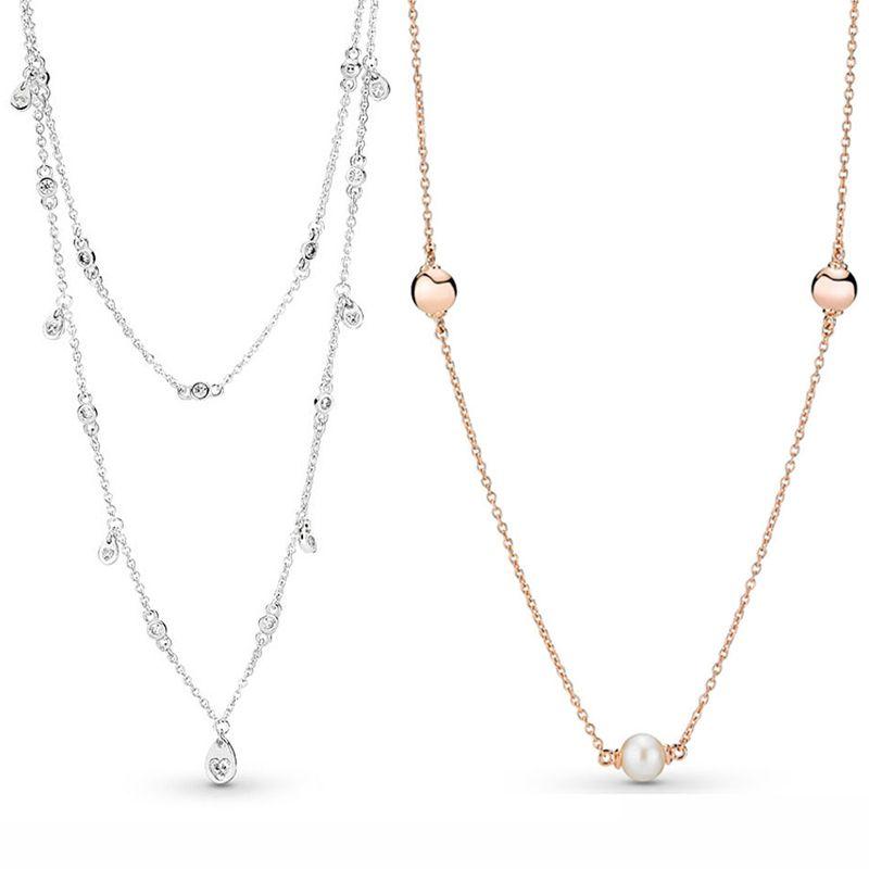 Rose Contemporânea Pérolas Colar Gotas Chandelier Colar Para Mulheres presente Europa jóia 925 de prata Sterling