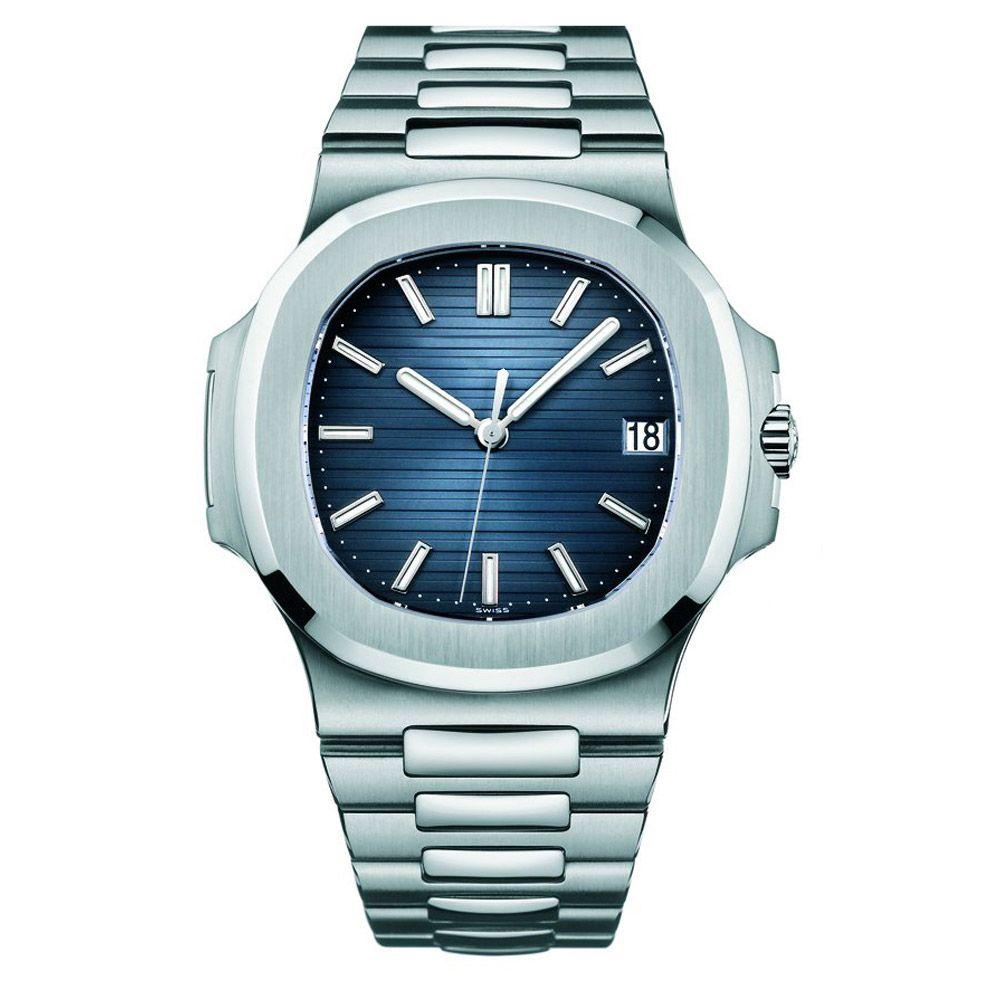 дизайнер водонепроницаемый дата часы мужчины автоматические часы класса люкс 5711 серебряный ремешок голубые нержавеющей Mens механически Orologio ди Lusso наручные часы