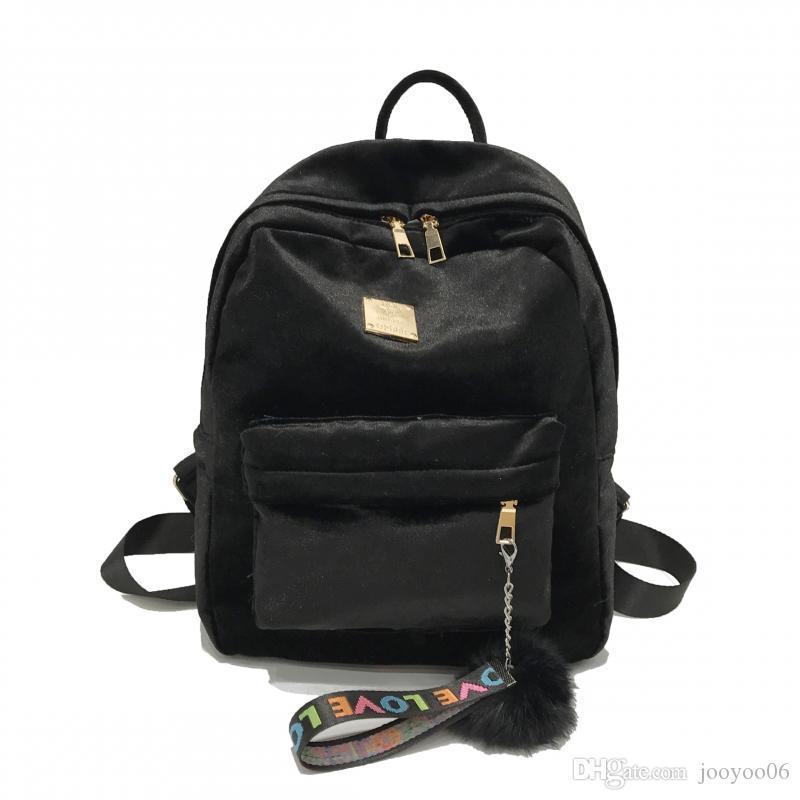 Solid Color Frauen-Samt-Pom Poms Rucksack Brief Drucken Bandaußenstudenten weiche bequeme Flap Travel Rucksack Tasche