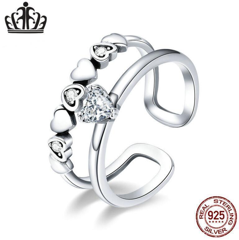 S925 Amor de anillo abierto mujeres cristalinas compromiso simple personalidad de los anillos de regalo de Navidad de los amantes del partido del anillo de plata esterlina 2020 joyería fina