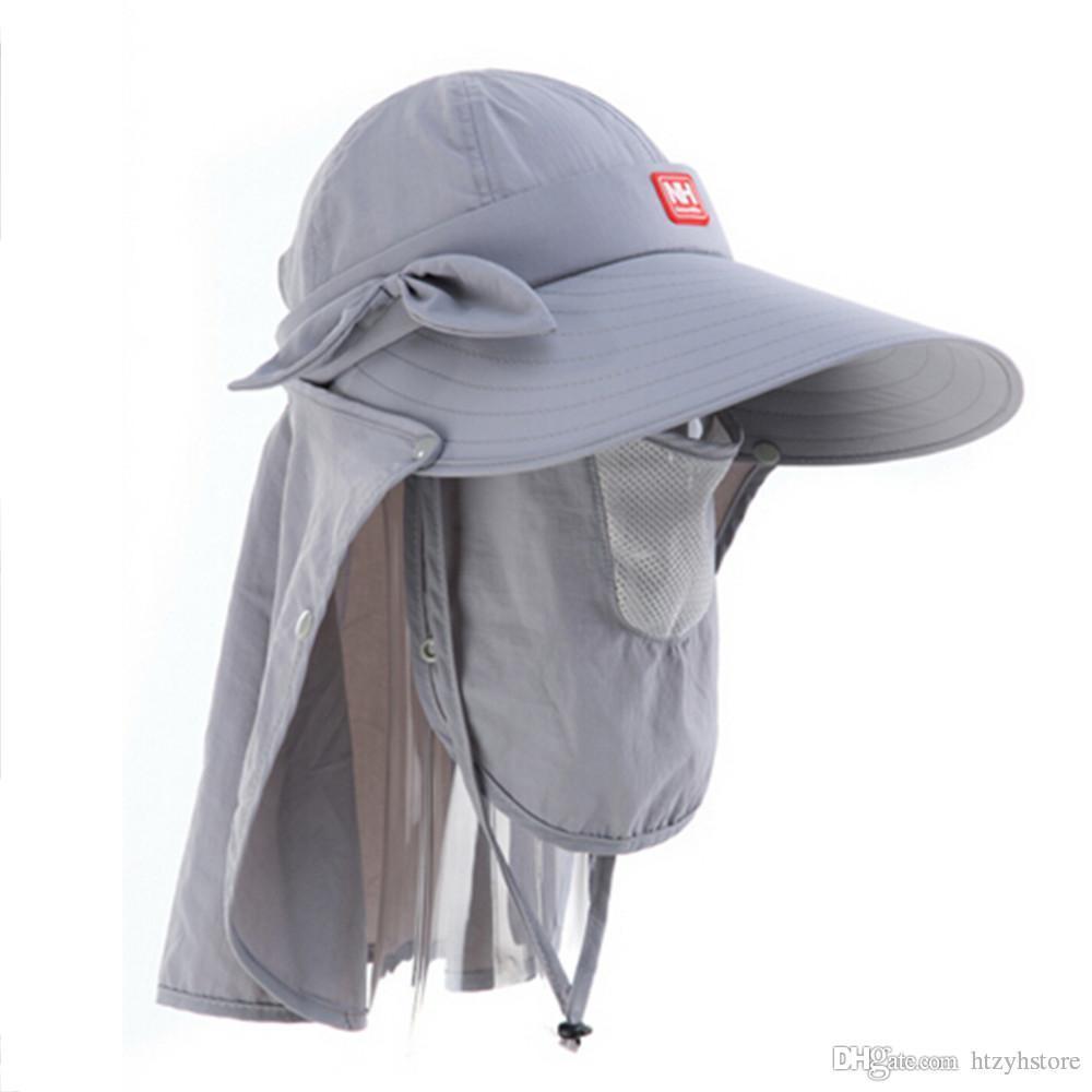 htzyh al por mayor de la nueva venta NH12M006-Z Nueva Pesca Senderismo verano del casquillo del sombrero con el cuello largo de la aleta de cuatro colores de alta calidad