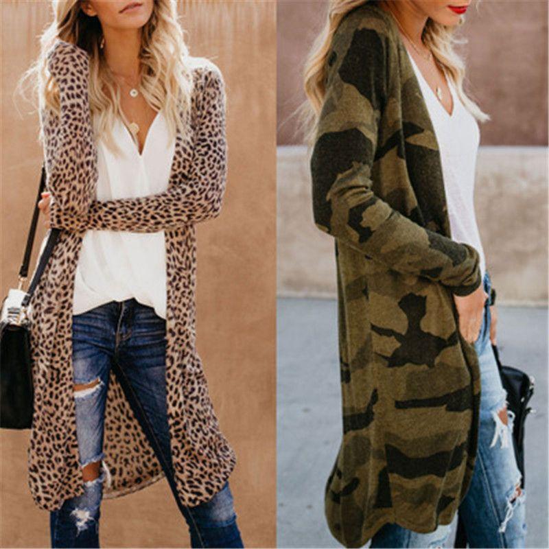 Весна и осень Нового Casual блудниц Кардиган Тонкая куртка Камуфляж Leopard печать с длинным рукавом для Slim женщин Длинного пиджака