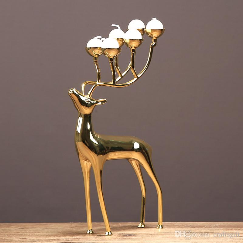 Gold Plated Deer Candle Holders Home Decoration Romantic Deer Candstick Ornaments European Classical Model Dining Room Table Centerpieces