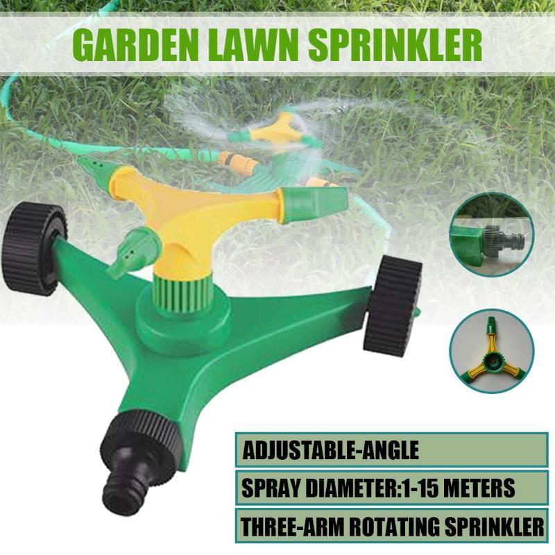 Giardino sprinkler automatici irrigazione dell'erba di Wimbledon 360 gradi di rotazione dello spruzzatore 3 Arms ugelli di irrigazione Garden Tools