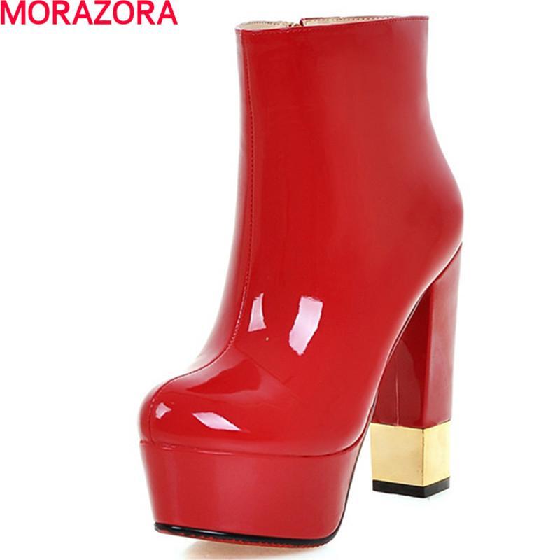 MORAZORA женщины осень зима горячие продажи высокие сапоги Женские туфли на платформе женская мода круглый носок толстые каблуки PU ботильоны для