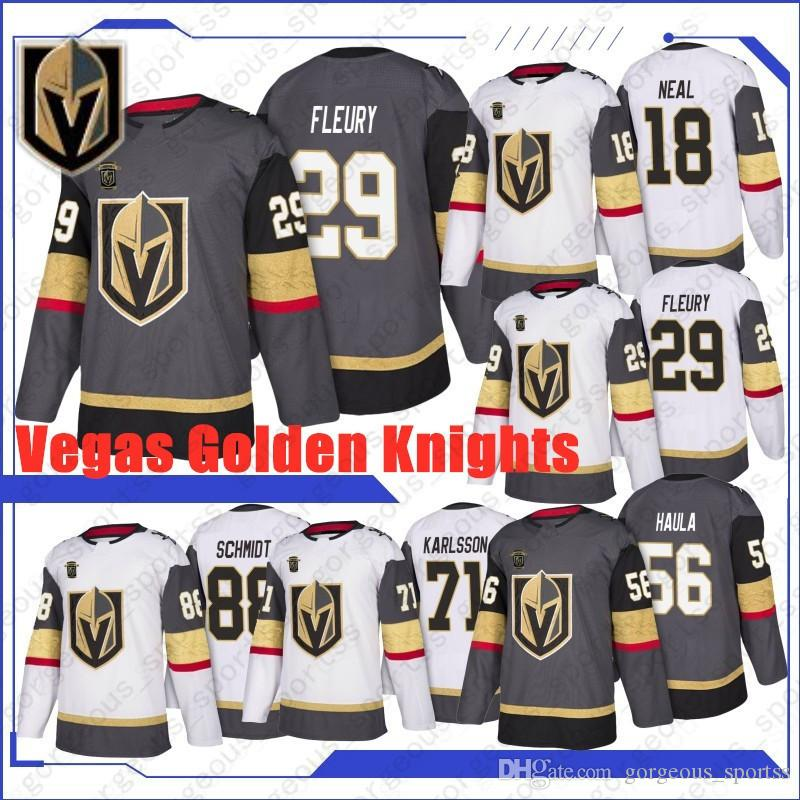 novo 29 de Marc-Andre Fleury 71 William Karlsson 18 James Neal Vegas Golden Knights Hockey Jerseys 57 David Perron 56 Erik Haula 88 Nate Schmidt