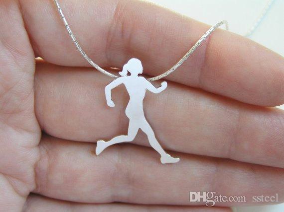10 قطع تشغيل فتاة رياضي امرأة قلادة قلادة اللياقة الرياضية تجريب ممارسة الشكل نمط سحر الترقوة قلادة مجوهرات للأصدقاء