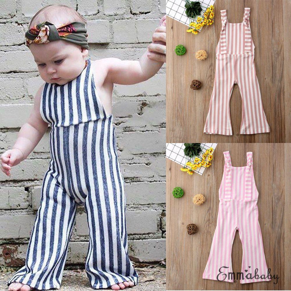 US Kids Baby Girls Stripe Romper Jumpsuit Brace Trousers Sunsuit Clothes Outfits