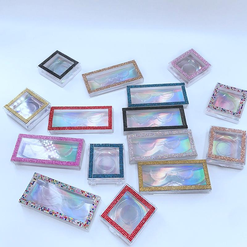 Brillantes de latigazo de la caja 3D Mink Pestañas personalizada cajas de embalaje vacío Brillantes de Pestañas Pestañas casos sin GGA3220