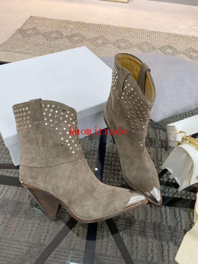 Orijinal Kutusu Isabel Çivili Marant Lamsy Bilek Boots Gerçek Deri Metal Ayak Isabel Lamsy Heeled Boots Kaya Üçgen Topuk metal başlık Ayakkabı