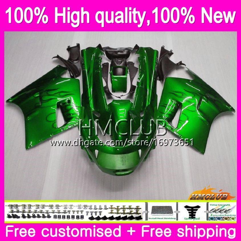 Body For KAWASAKI ZX-11R ZZR 1100 CC ZX11R 93 94 95 96 97 52HM.10 ZZR1100 ZZR-1100 ZX 11R 1993 1994 1995 1996 1997 Green black Fairing kit