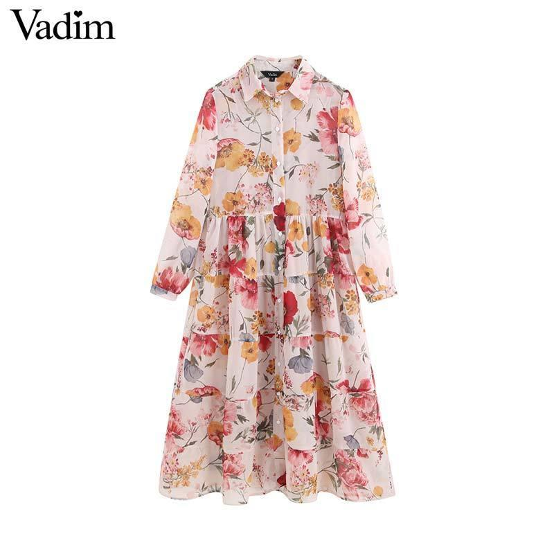 Vadim Women Sweet Chiffon Floral Print Patchwork Midi Dress Long Sleeve Two Piece Set Female Casual Dresses Vestidos Qb848 Y19070801