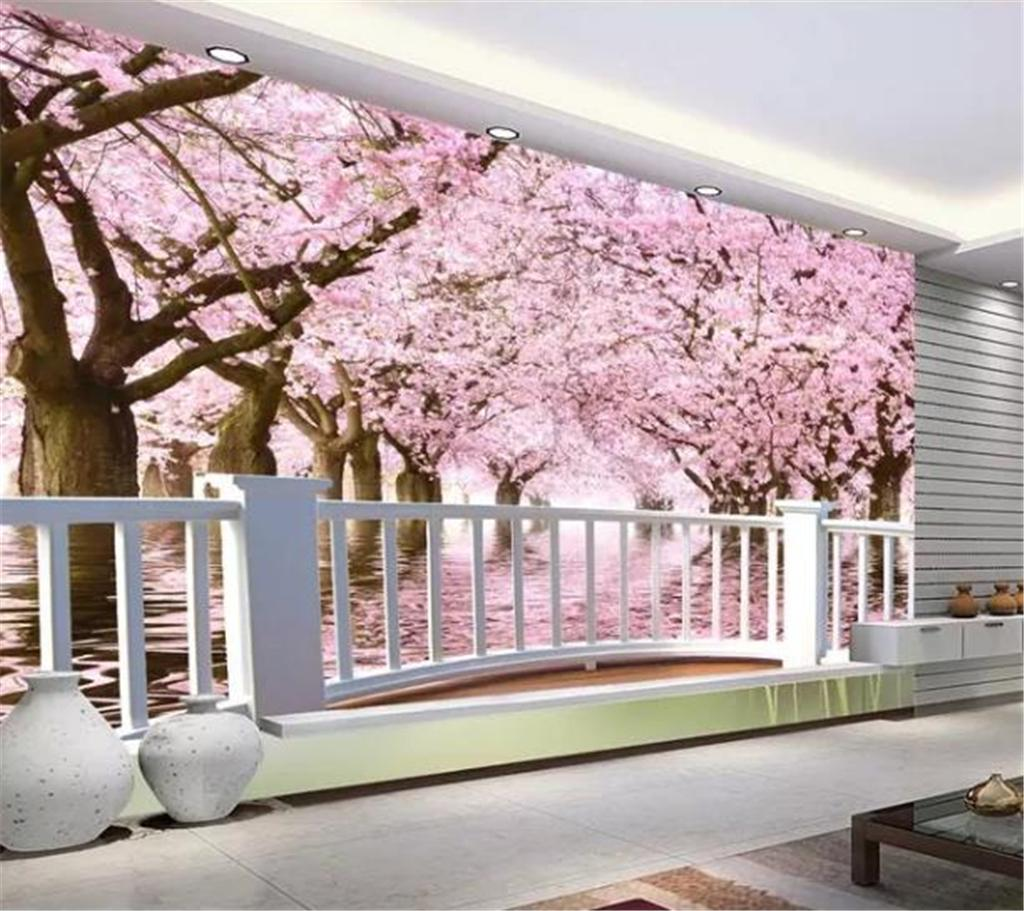3d Wallpaper Super Clear Balcony Cherry Tree Cherry Blossoms