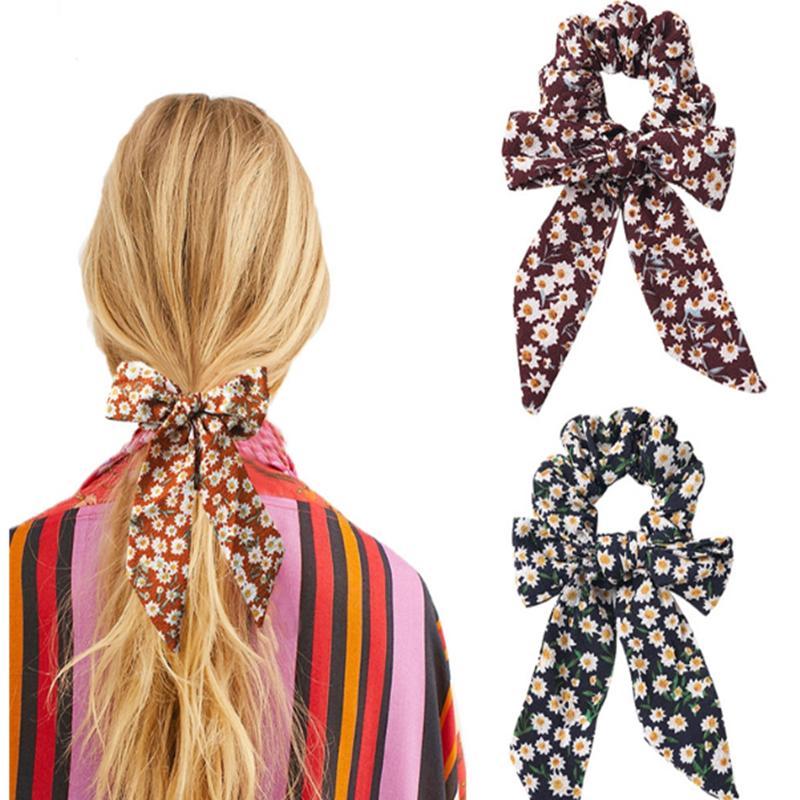 5 cores Meninas Impresso cabeça Cavalinha cabelo corda elástica floral fita de cabelo bandas de cabelo bowknot Meninas Tie acessórios GJJ252