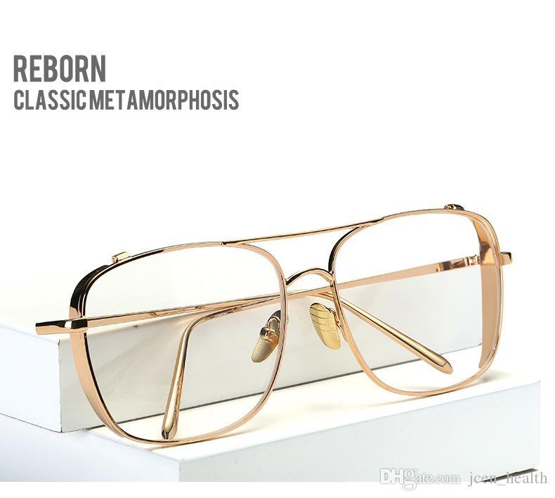 남성 사각 투명 렌즈 고전 안경 전체 프레임 대형 빈티지 골드 실버 금속 선글라스 록 스타일의 고급 패션 선글라스