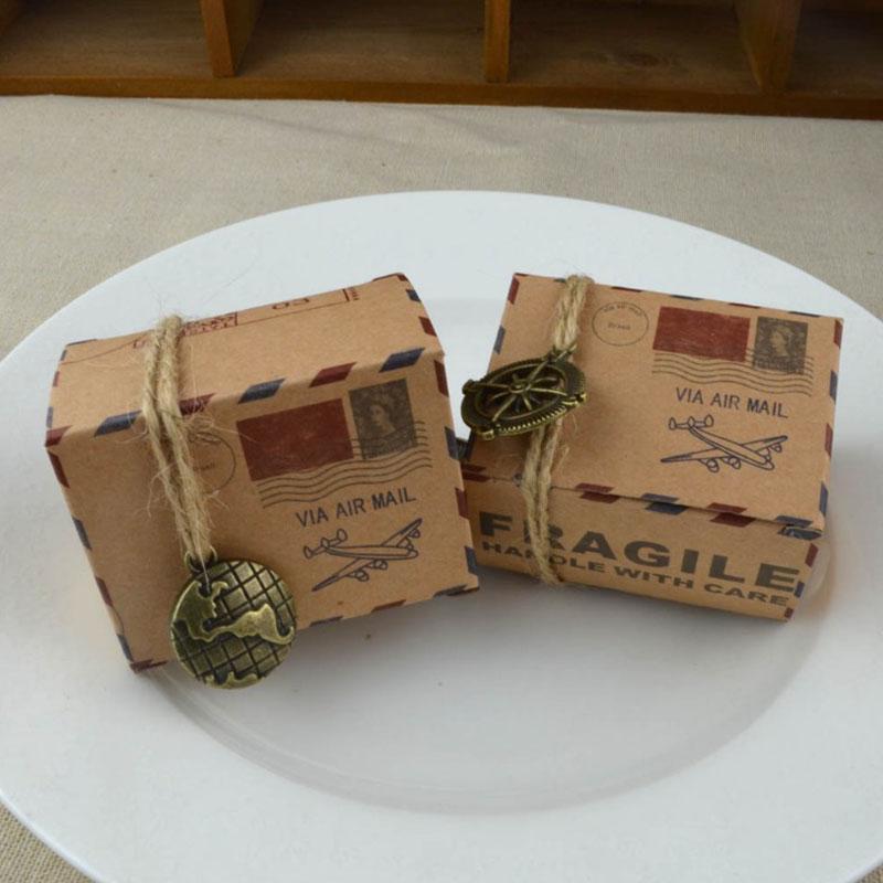 10 teile / los Vintage Kraft Geschenkboxen Süßigkeiten Verpackung Box Hochzeit Geburtstagsfeier Geschenkboxen Event Party Supplies