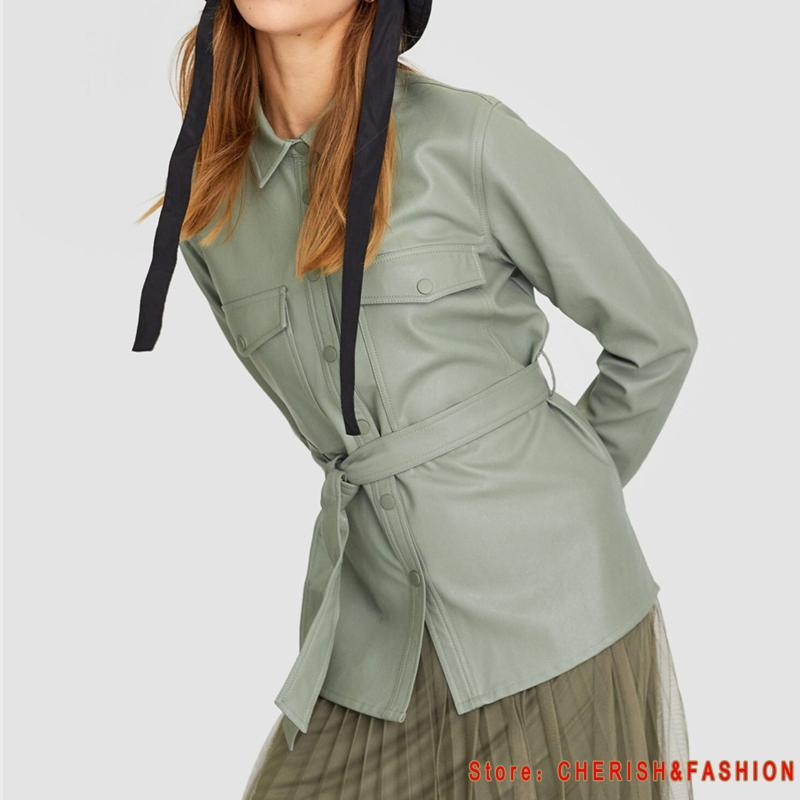 Motorrad-Frauen Lederhemd Straßen Personality Metall Einzel Buttons Pu Shirt New Herbst-Winter-beiläufige lange Hülsen-Oberseiten-Bluse