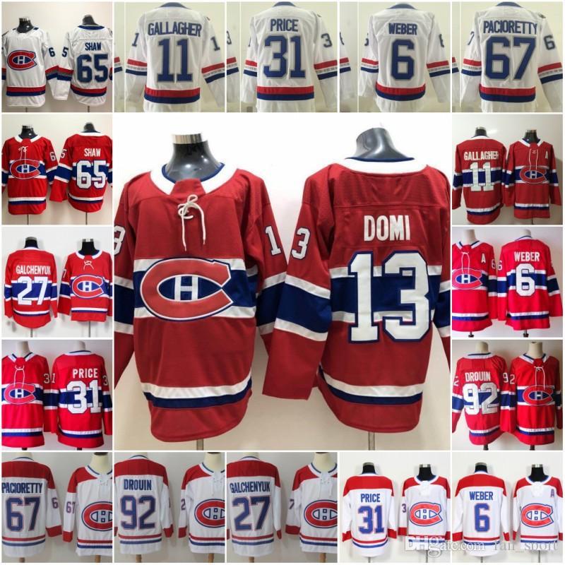15 Jesperi Kotkaniemi 몬트리올 Canadiens 13 Max Domi 하키 유니폼 31 Carey Price 92 Jonathan Drouin 67 Max Pacioretty 11 Brendan Gallagher
