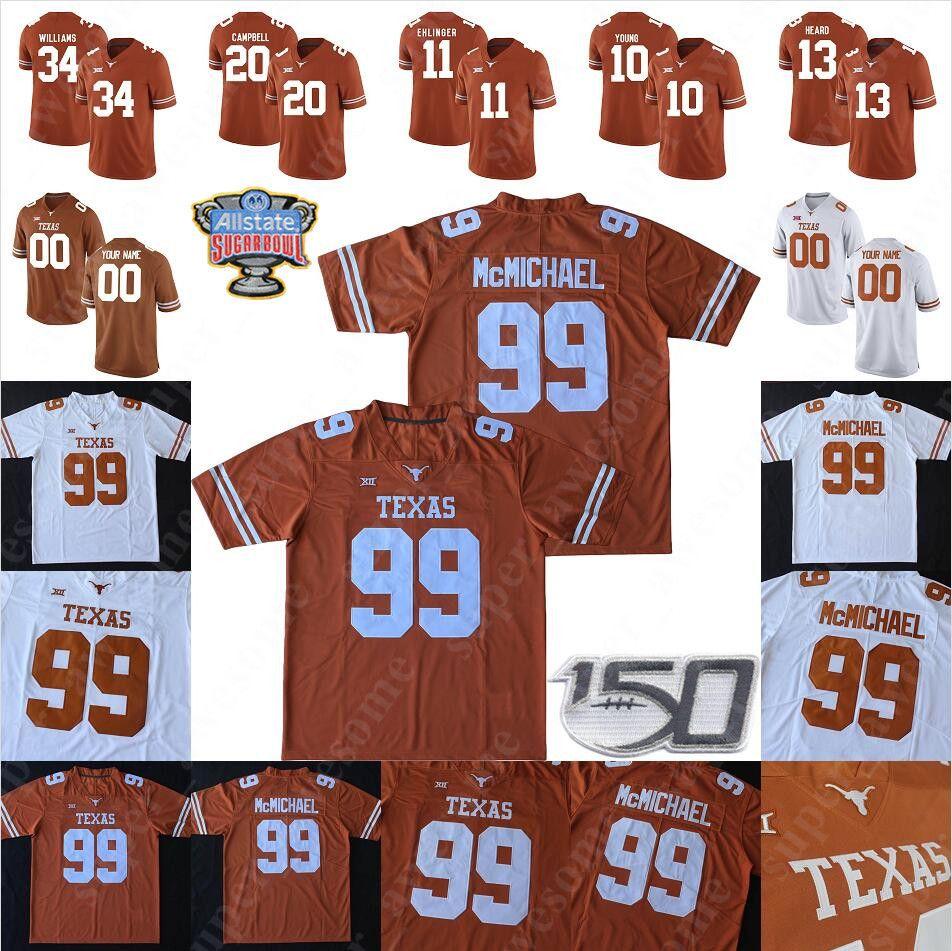Custom Texas Longhorns Football Jersey Sam Ehlinger Devin Duvernay Joseph Ossia Keepay Ingram Roschon Johnson Jake Smith Malcolm Epps