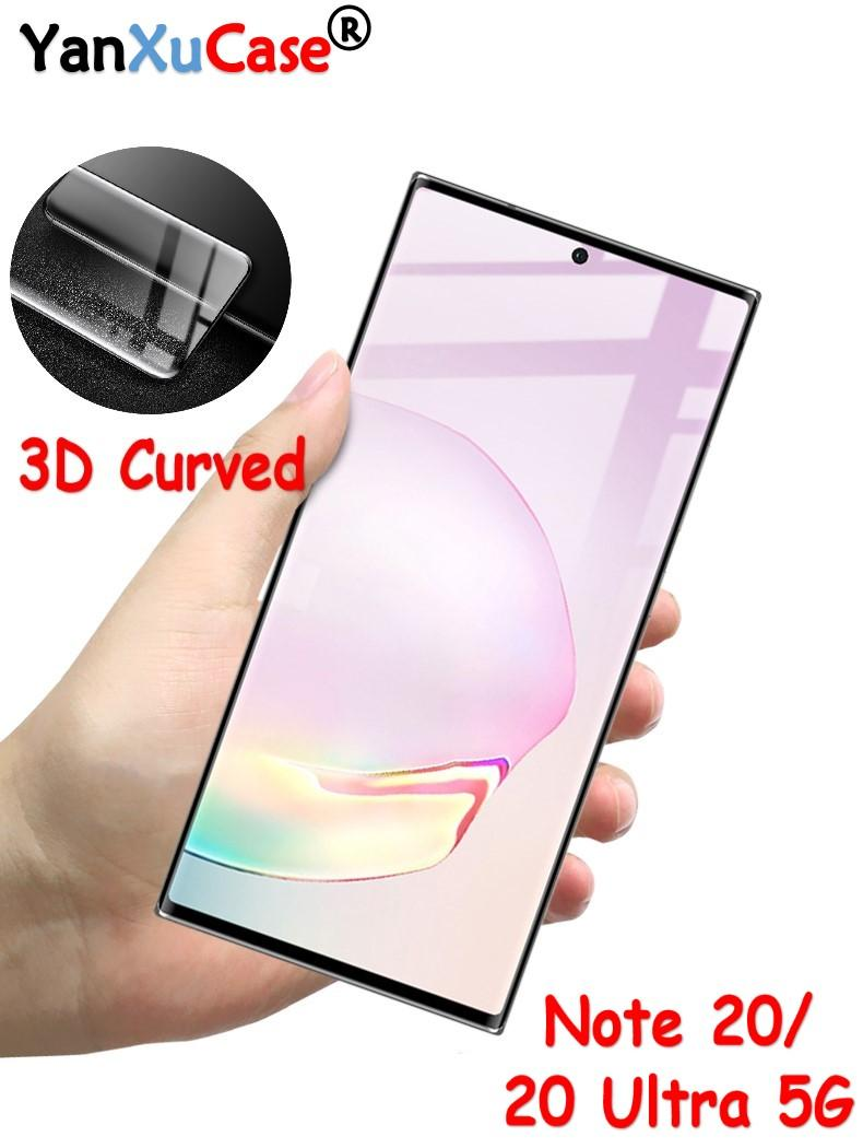 3D Curved Full Cover Screen Protector For Samsung Galaxy Note20 Full Screen Glass Fingerprint Unlock Film For Note20 Ultra 5G Free DHL