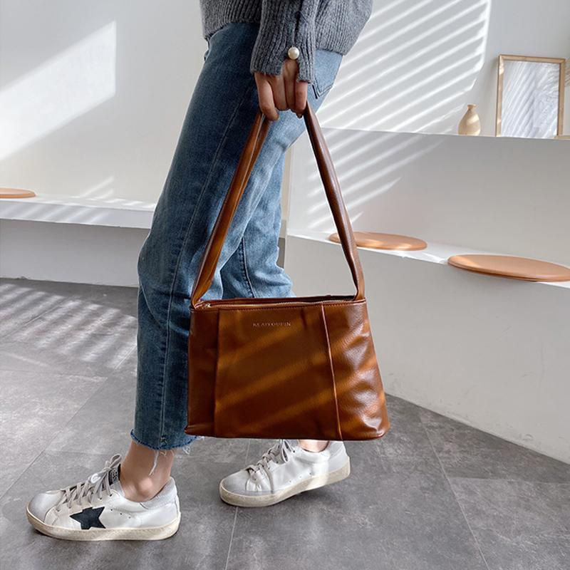 Vintage Leder Schultertasche für Frauen-Handtaschen-Dame-Wannen-Beutel weiblichen kühle High Capacity Fest Farbe Crossbody Beutel