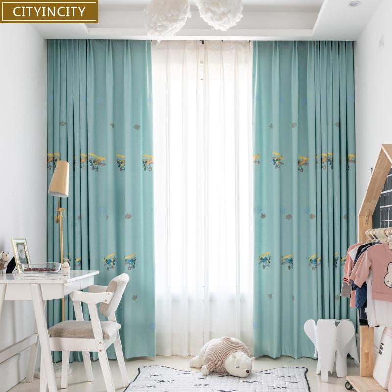 2020 Cityincity Childrens Curtain For Bedroom Embroidered Faux Linen Airplane Cloud Curtains For Living Room Home Decor Customized From Kuaikey 27 51 Dhgate Com