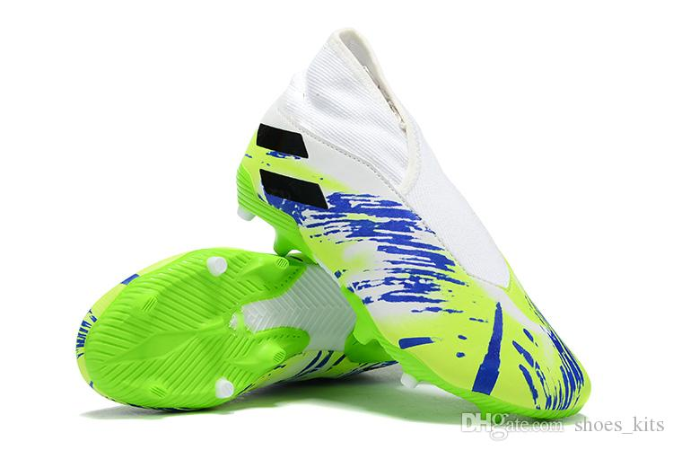 Acheter 2019 Dernier Né Des Hommes Nemeziz 19,3 FG TF Sans Lacets Chaussures De Football Messi Chaussures Crampons Soccer Intérieur Chaussures De