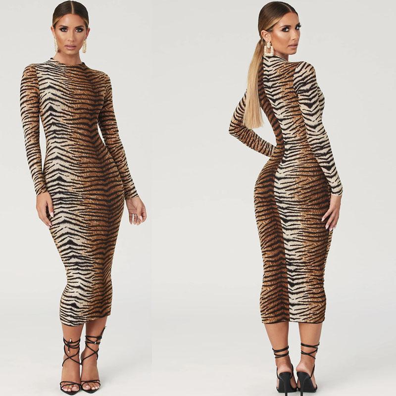 Moda stampa del leopardo lungo abito abiti da Night Club vestiti sexy