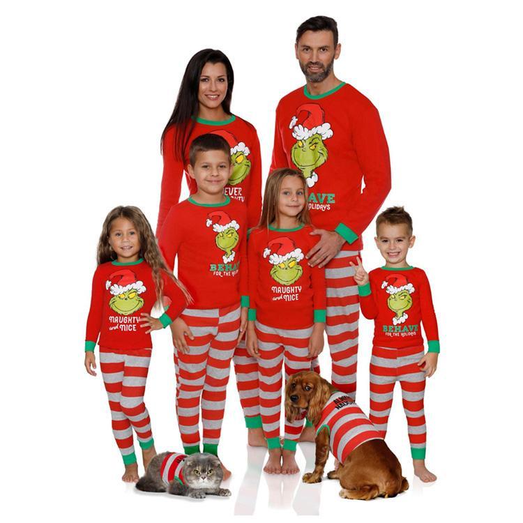 christmas pajamas Xmas Kids Adult family matching outfits christmas Striped Sleepwear Mother Father Daughter Boys Xmas Homewear Sets MJY844