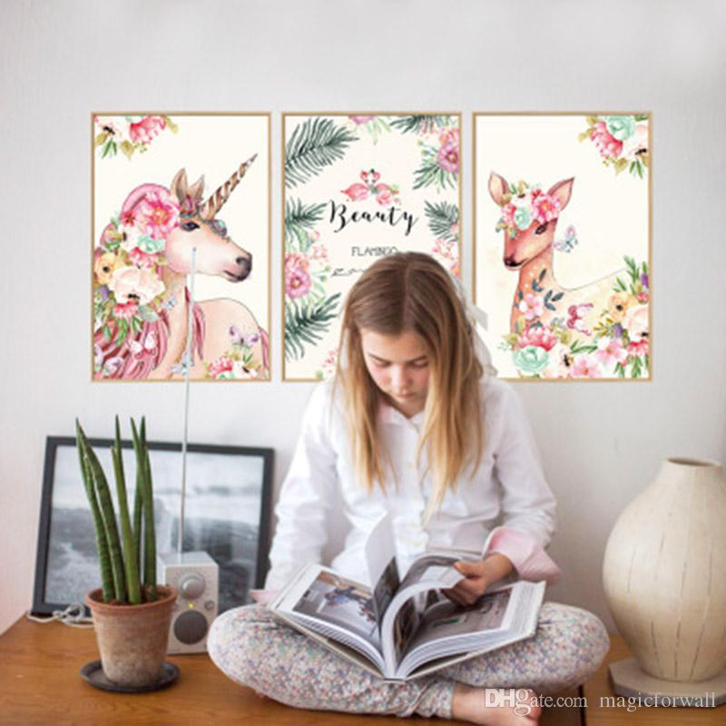 Cartoon Animals Horse Deer Green Leaves Flowers Wall Stickers 3D Simulation Picture Frame Wall Art Poster Decor Decorative Decal