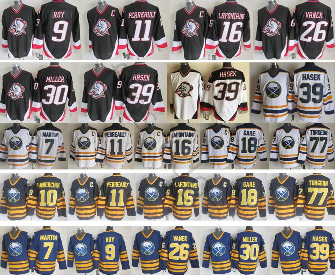 Buffalo Sabers Winter Classic Men # 30 Ryan Miller 39 Dominik Hasek 26 Thomas Vanek 11 Gilbert Perreault 77 Pierre Turgeon Ice Hockey Jerseys