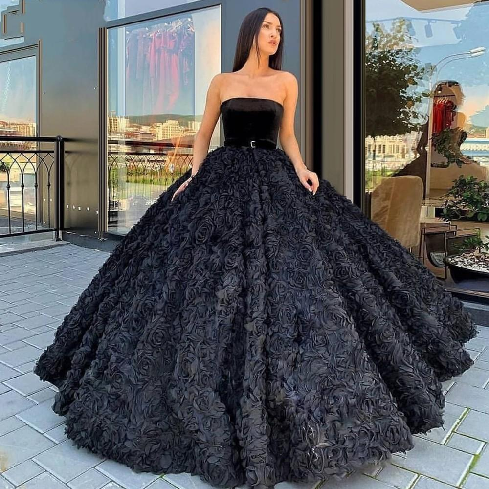 2020 Sexy Elegant Woman Plus Size Black Prom Dresses Long Arabic Evening Gowns Formal Party Gala Dress Ball Gown