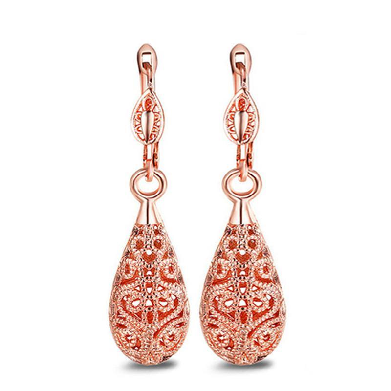 Argento / oro rosa orecchino della lega ciondola placcato oro lungo cavo orecchini Waterdrop Ciondolo Donna Wedding Jewelry di Natale