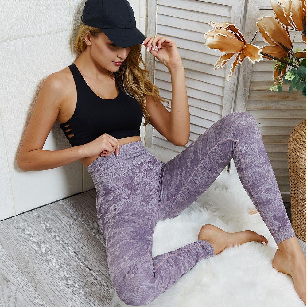 Sorunsuz Kamuflaj Örgü Kalça Yoga Pantolon Spor Spor Pantolon Seksi göster Kalçalar Sorunsuz Hit Külot