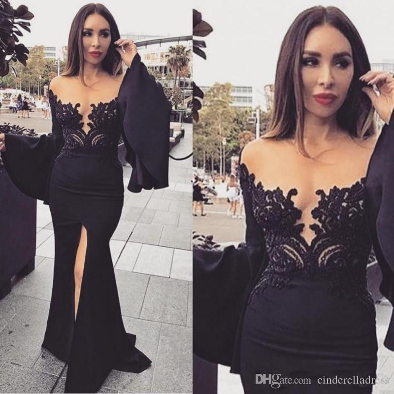 2020 Modern Illusion Applique Lace Mermaid Evening Dresses Arabic Front Split Long Poet Sleeve Prom Dresses Sexy Formal Engagement Gowns