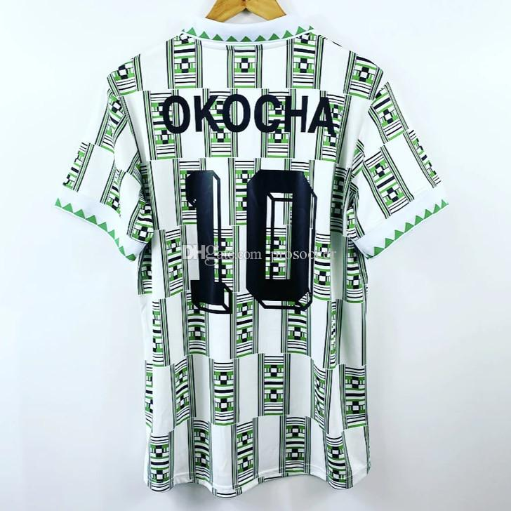 الرجعية نيجيريا 1994 الرئيسية بعيدا قميص كرة القدم الفانيلة كانو اوكوشا فندي فوتبول كيت خمر كرة القدم Camiseta كلاسيكي